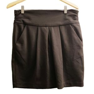 Grass Collection Black Pleated A-line Skirt 9